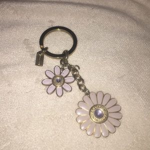 Coach lavender daisy's and gold floral keycharm